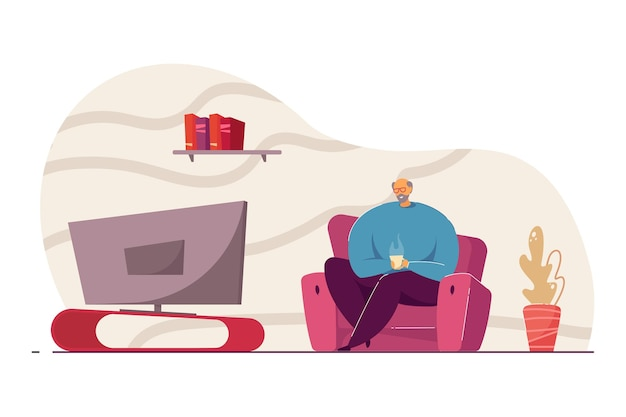 Uomo anziano con una tazza di caffè che guarda l'illustrazione vettoriale della tv. uomo in pensione seduto sul divano, che trascorre del tempo da solo a casa. riposo, mass media, concetto di solitudine per banner, design di siti web o pagina web di destinazione