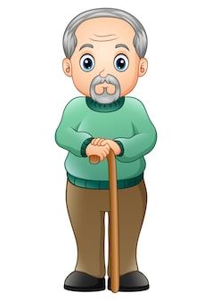 Vecchio con bastone da passeggio