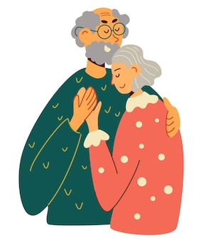 Vecchio e donna che si abbracciano insieme. coppia sposata anziana che si abbraccia con amore. coppia di anziani in pensione sorridente coppia di anziani premurosa. i nonni felici si prendono cura l'uno dell'altro. vettore