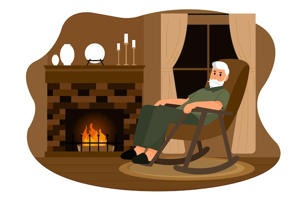 Old man in the wood cabin vector illustration