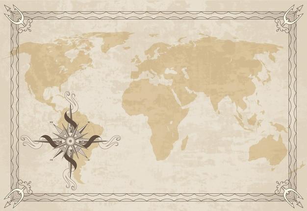 Vecchia cornice della mappa con bussola nautica retrò su texture di carta vecchia
