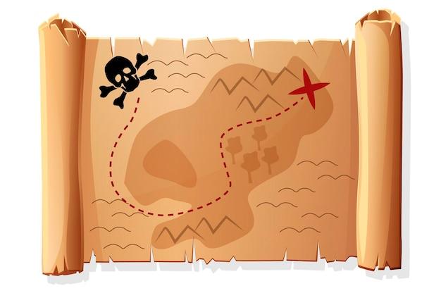 Vecchia mappa di scorrimento, mappa del tesoro antico dei pirati per il gioco.