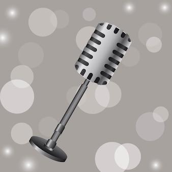 Vecchio microfono su sfondo grigio illustrazione vettoriale