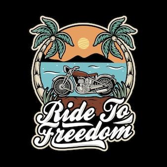 Vecchia motocicletta sulla spiaggia vista illustrazione
