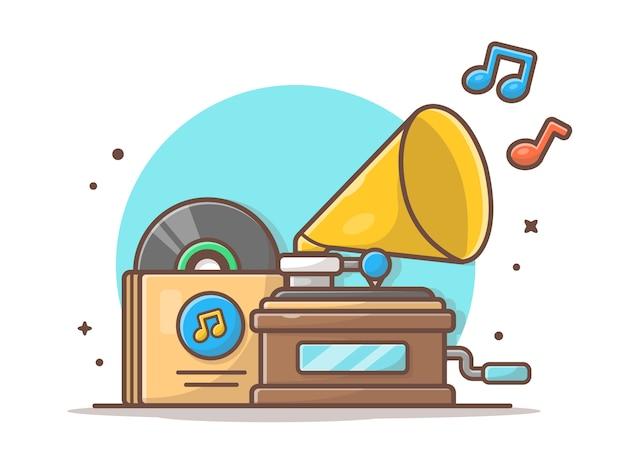 Lettore musicale anziano con il grammofono, bianco dell'icona di musica del vinile isolato