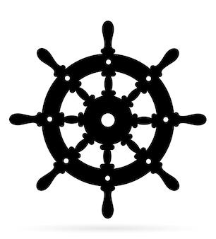 Vecchio volante nautico fatto di sagoma di contorno nero in legno su bianco