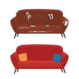 Vecchio e nuovo divano clipart isolato