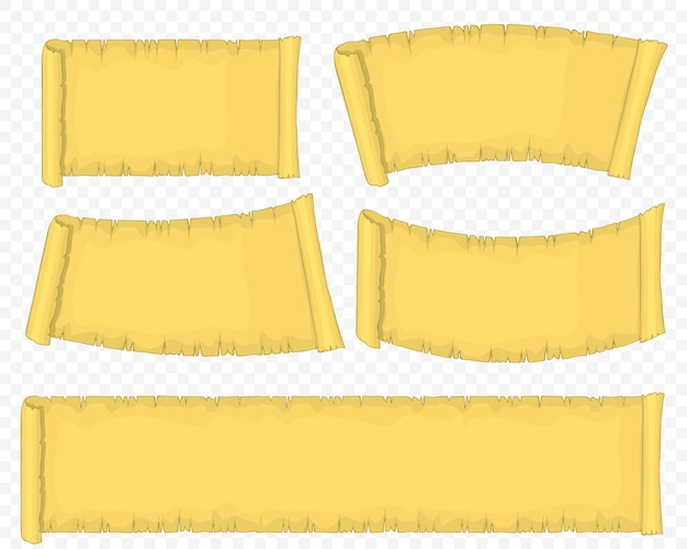 Vecchio set di rotoli di carta, rotolo di papiro giallo, manoscritto antico vuoto.