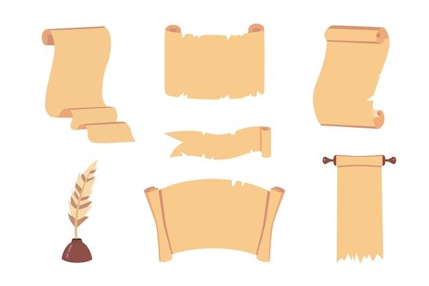 Insieme del rotolo di carta vecchia. script di documento retrò con copyspace. illustrazioni d'epoca in bianco e lettera.