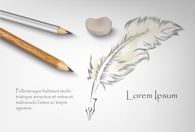 Vecchia penna per scrivere con un libro aperto. illustrazione
