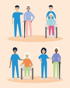 Insieme dell'icona di badanti di persone anziane