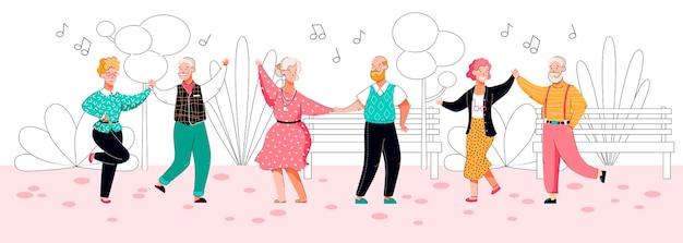 Anziani che ballano nel parco - coppie senior del fumetto che fanno mosse di danza