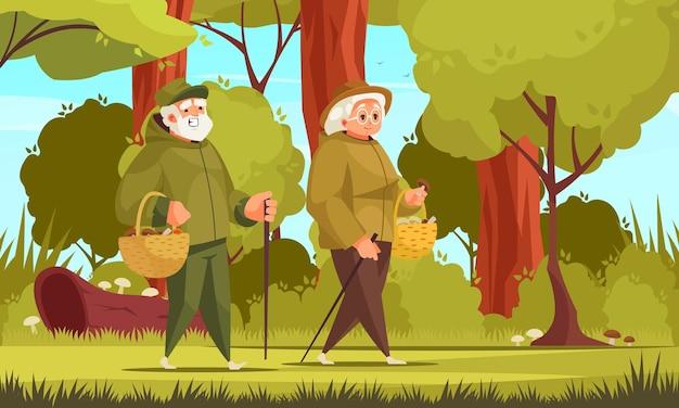 Composizione nel fumetto di attività all'aperto di persone anziane con coppia di anziani che raccolgono funghi nell'illustrazione selvaggia