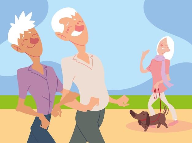 Gli anziani camminano e l'anziana cammina con un cane nel design del parco