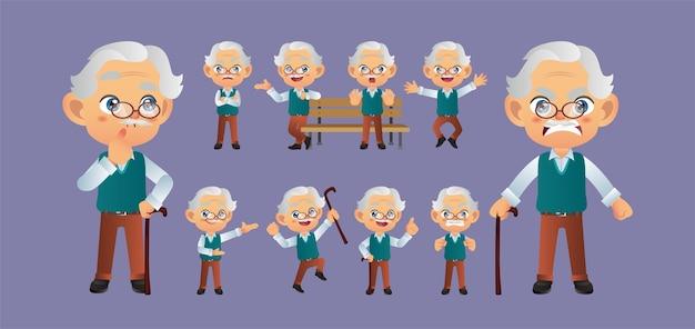 Persona anziana con pose diverse.