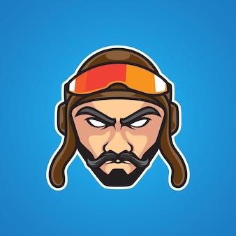 Logo della mascotte del vecchio pilota e sport