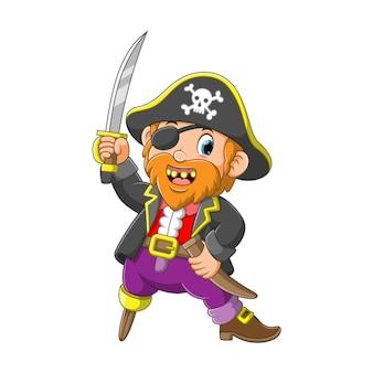 Vecchio pirata con una gamba di legno tenendo la spada illustrazione