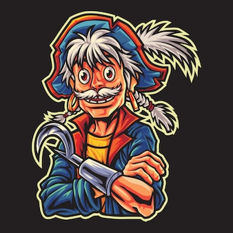 Old pirates esport logo illustrazione