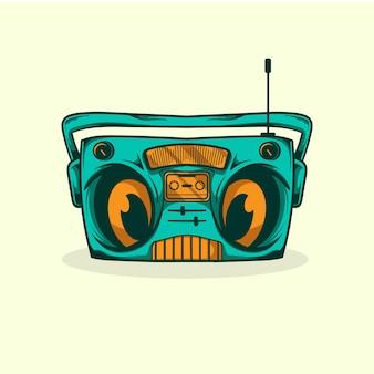 Vecchia illustrazione del carattere della radio
