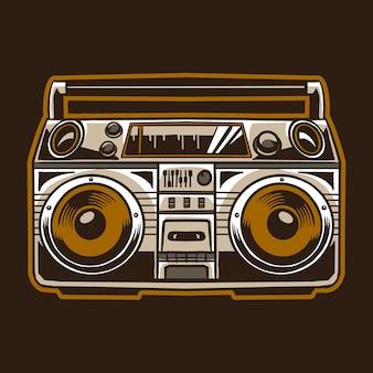 Vecchia radio compo isolata su colore marrone