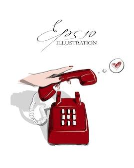 Vecchio telefono vintage rosso squilla illustrazione