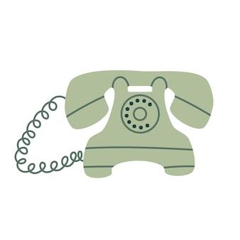 Vecchia illustrazione del telefono rerto in stile semplice cartone animato piatto