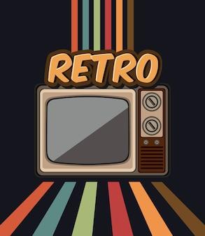 Vecchia tv retrò nel disegno di illustrazione vettoriale
