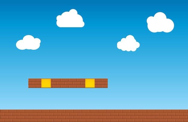 Vecchio sfondo di videogiochi retrò. scenario di design del gioco in stile retrò classico.