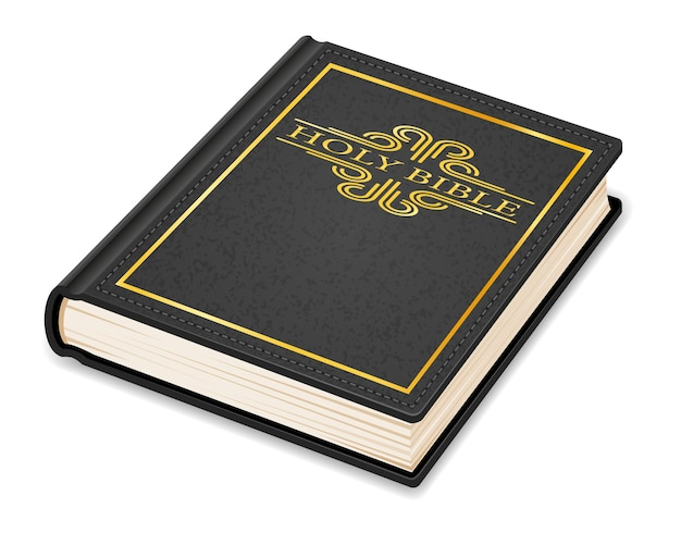 Vecchia bibbia vintage retrò chiusa in un coperchio isolato su bianco Vettore Premium