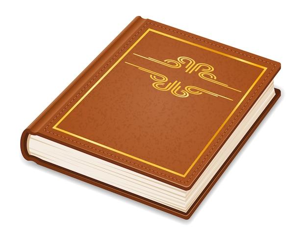 Vecchio libro vintage retrò chiuso in copertina isolato su bianco