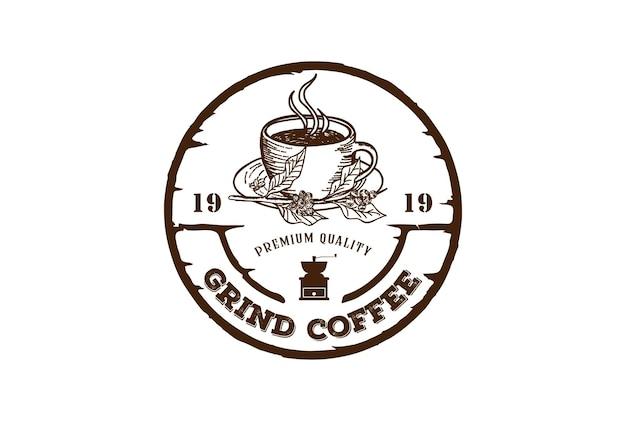 Vecchia tazza di tazza da caffè rustica per cafe restaurant bistro logo design vector
