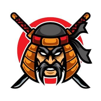 Logo della mascotte di vecchio samurai e sport