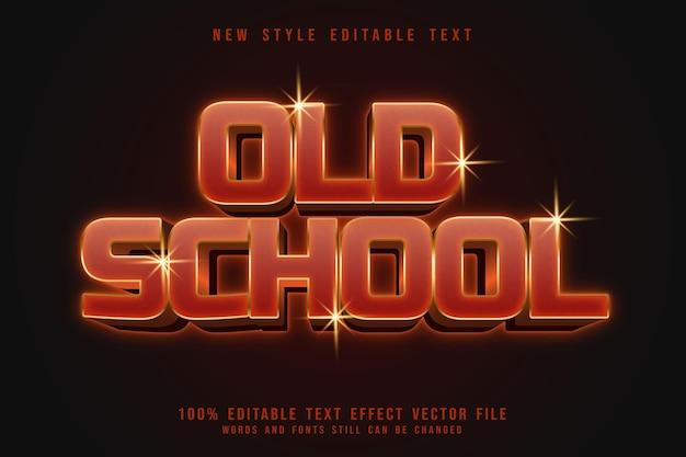 Effetto testo modificabile vecchia scuola 3 dimensioni in rilievo in stile neon