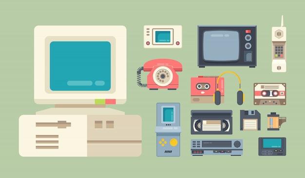Set di illustrazioni vettoriali piatto gadget di vecchia scuola