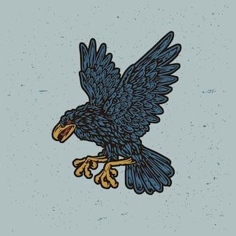 Vecchia scuola vecchio francobollo corvo corvo illustrazione Vettore Premium