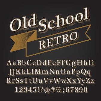 Alfabeto in rilievo in stile retrò vintage vecchia scuola con ombra foderata.