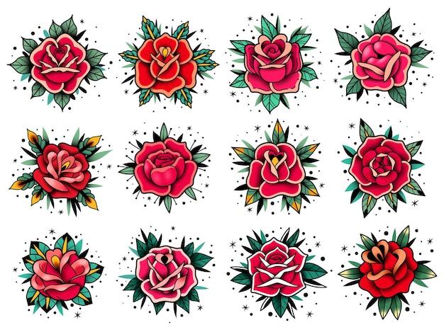 Collezione di rose tatuaggio vecchia scuola