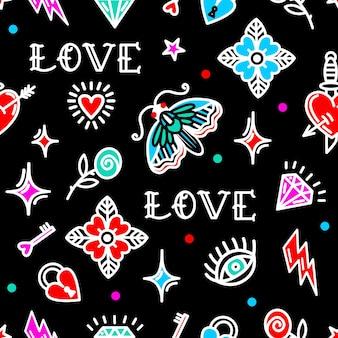 Reticolo senza giunte del tatuaggio della vecchia scuola con simboli di amore. illustrazione vettoriale. design per san valentino, trampoli, carta da regalo, imballaggi, tessuti