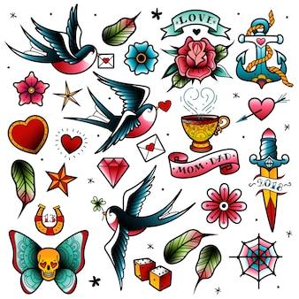 Set di tatuaggi della vecchia scuola