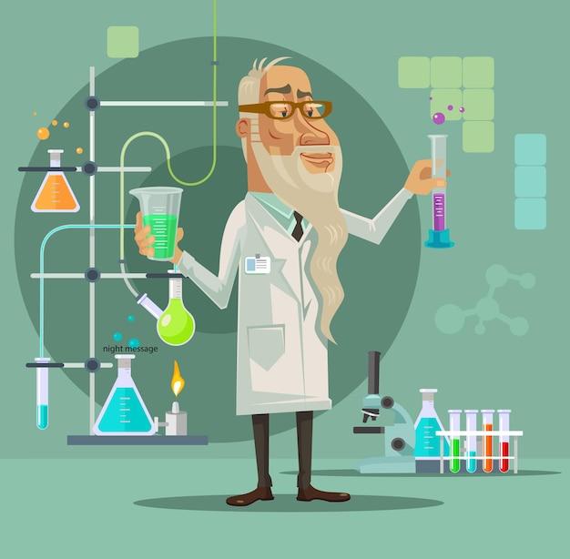 Carattere di vecchio scienziato