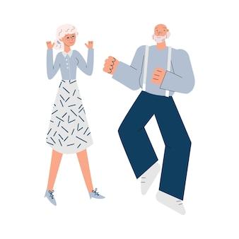 Vecchi personaggi di uomo e donna senior che ballano illustrazione vettoriale schizzo isolato