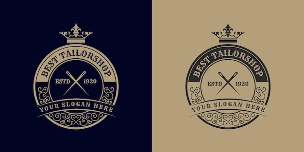 Vecchio logo del negozio di cucito sartoria con corona