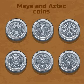 Vecchie monete azteche e maya d'argento, elemento di gioco