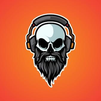 Logo di cuffie musica vecchio teschio