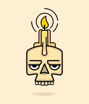 Vecchio cranio con la candela di cera sul vettore capo