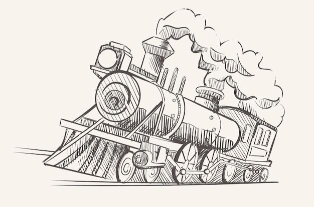 Vecchia locomotiva a vapore, un treno dell'era industriale