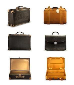 Insieme dell'illustrazione della vecchia valigia