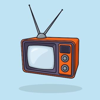 Old television orange object concept cartoon icon vector