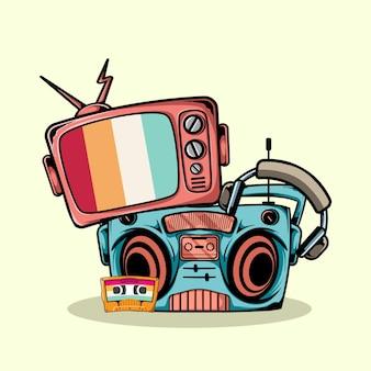 Vecchia illustrazione di televisione, radio, cuffie e cassette