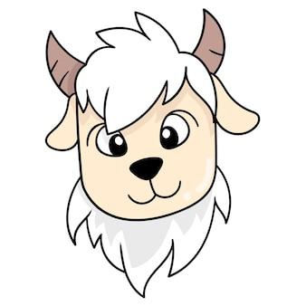 Vecchia testa di capra dai capelli spessi, emoticon di cartone di illustrazione vettoriale. disegno dell'icona scarabocchio